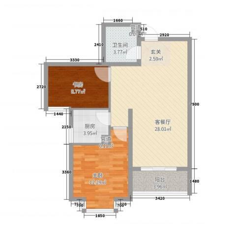 城南春晓2室1厅1卫1厨86.00㎡户型图