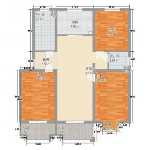 铜城丽都3室1厅2卫1厨103.72㎡户型图