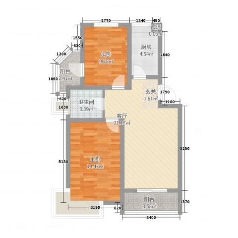 锦汇苑2室1厅1卫1厨86.00㎡户型图