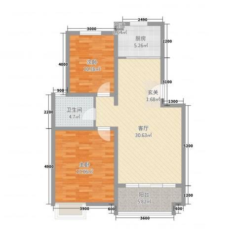 锦汇苑2室1厅1卫1厨105.00㎡户型图