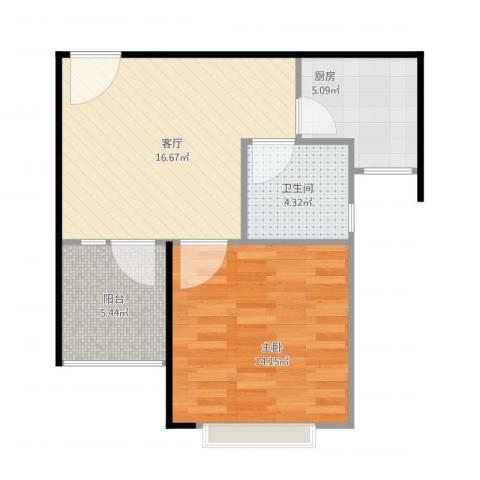 东华・星域1室1厅1卫1厨62.00㎡户型图