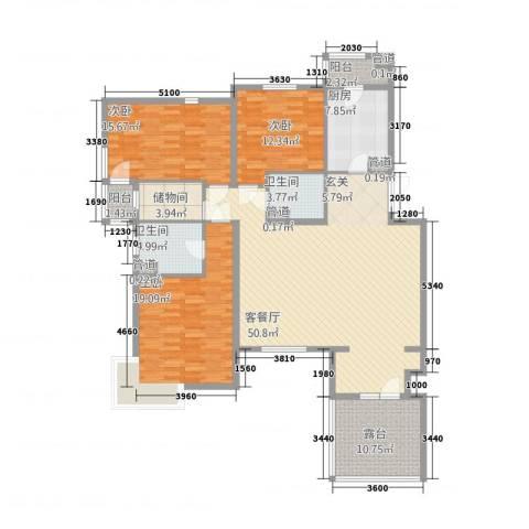 金色漫香林别墅3室1厅2卫1厨187.00㎡户型图