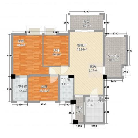 东方华尔街3室1厅2卫1厨103.01㎡户型图