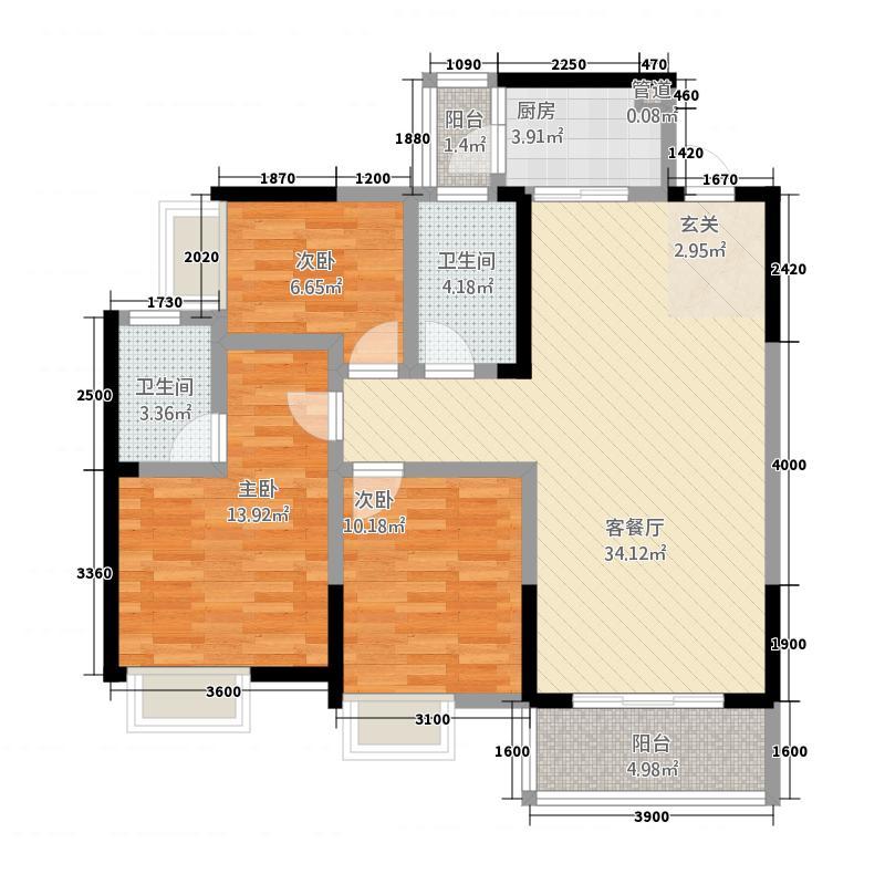 紫荆花语4号楼标准层D1户型(售罄)106