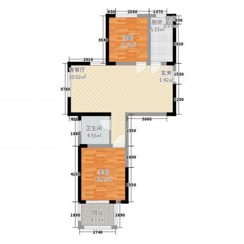 欧风新天地2室1厅1卫1厨96.00㎡户型图