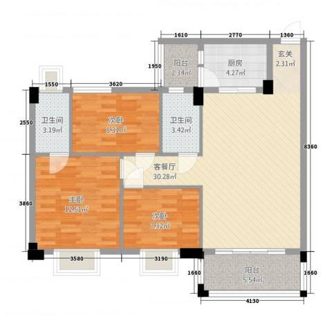 帝景豪庭3室1厅2卫1厨111.00㎡户型图