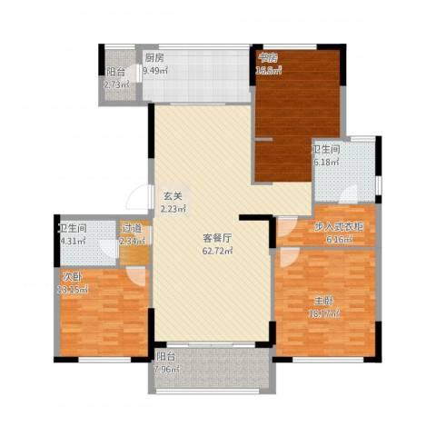 金地澜悦2室1厅2卫1厨185.00㎡户型图