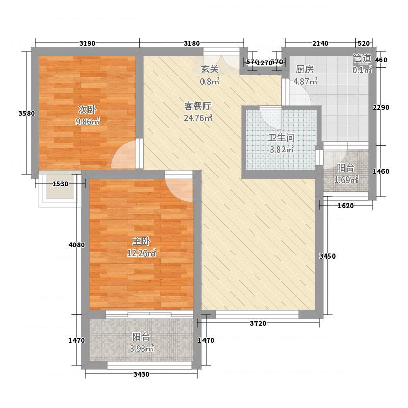 鑫苑景园8.34㎡景园高层P户型2室2厅1卫1厨
