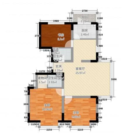 恒祥家园3室1厅2卫1厨102.00㎡户型图