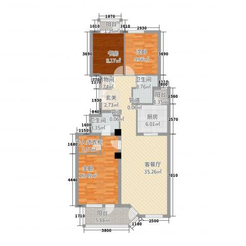 网师花苑3室1厅2卫1厨135.00㎡户型图