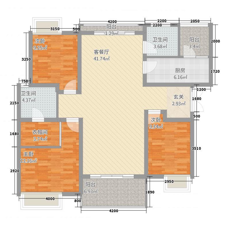 绥阳新天地131.00㎡花园洋房户型3室2厅2卫1厨