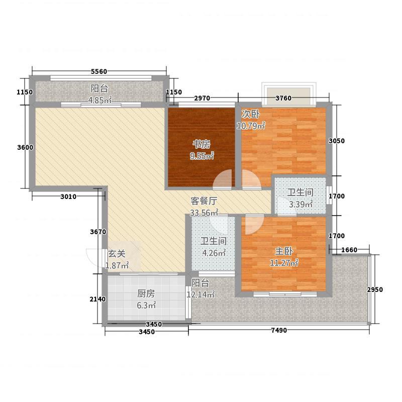 后湖・都市花园136.78㎡A户型3室2厅2卫1厨