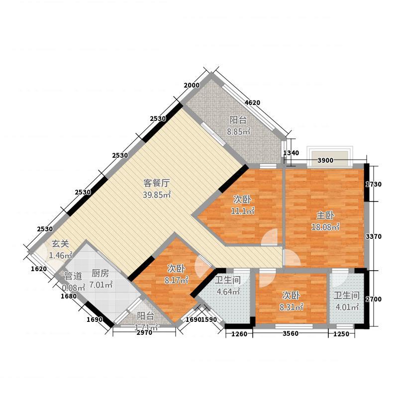 海骏达海伦堡06户型4室2厅3卫1厨