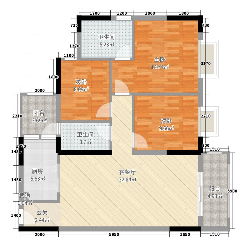 海骏达海伦堡1户型3室2厅2卫1厨