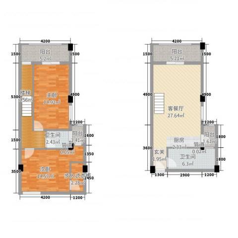 古越扬帆・城市广场2室1厅2卫0厨89.20㎡户型图