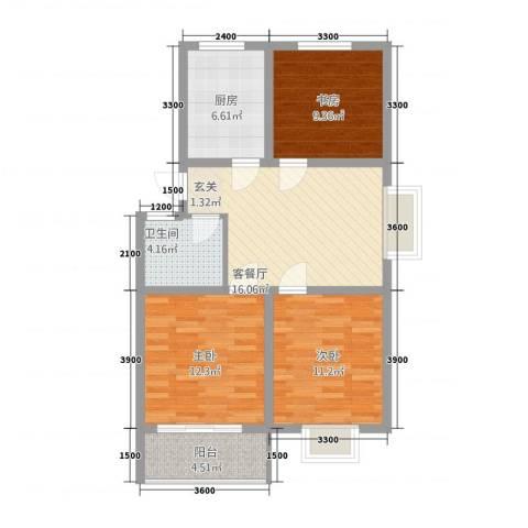 新景第3室1厅1卫1厨74.16㎡户型图
