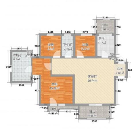 天意缘3室1厅2卫1厨92.08㎡户型图