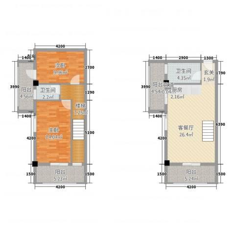 古越扬帆・城市广场2室1厅2卫0厨83.82㎡户型图