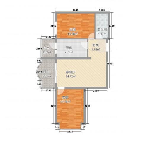 新大发国际广场2室1厅1卫1厨105.00㎡户型图