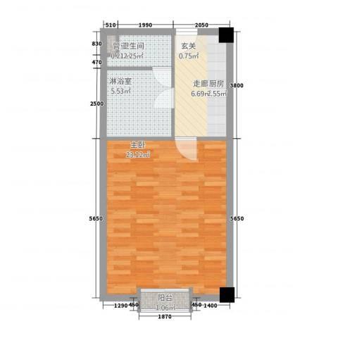 凤凰公社1室0厅1卫0厨58.00㎡户型图