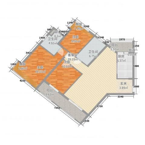 中颐海伦堡3室1厅2卫1厨135.00㎡户型图