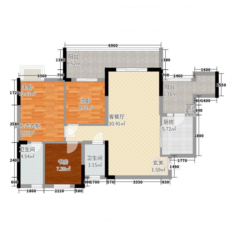 锦绣苑125.00㎡小区户型3室