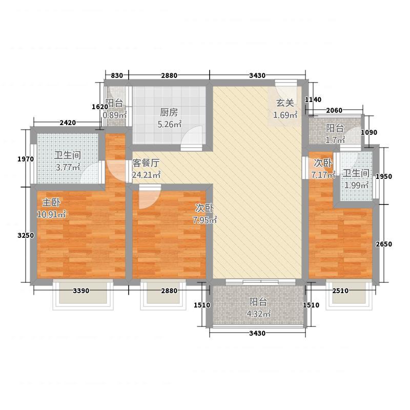 鑫南丽锦11.38㎡二阳台户型3室2厅2卫