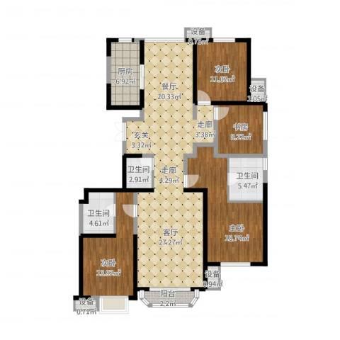 中冶・德贤公馆4室1厅3卫1厨188.00㎡户型图