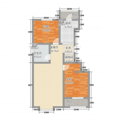 盘古新天地阳光花园2室1厅1卫1厨101.00㎡户型图