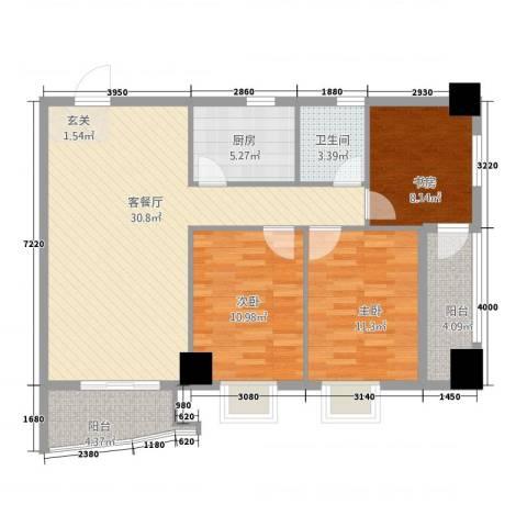 永辉・巴黎3室1厅1卫1厨111.00㎡户型图