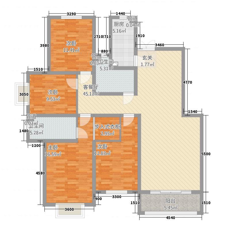 芳清苑8#L户型4室2厅2卫1厨