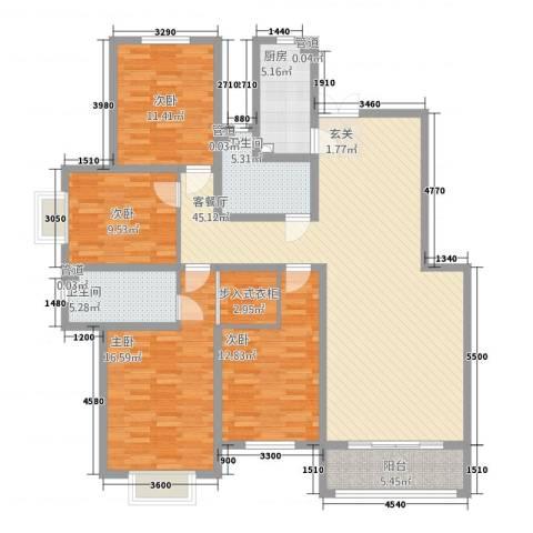 芳清苑4室1厅2卫1厨172.00㎡户型图