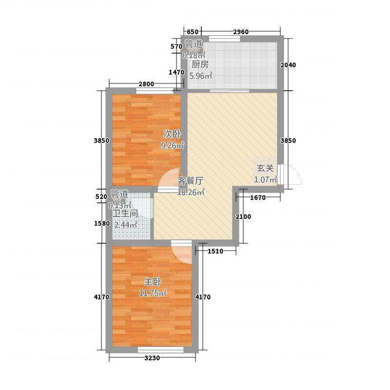 华大城1673.23㎡二期C1#C6#楼D1户型2室2厅1卫1厨