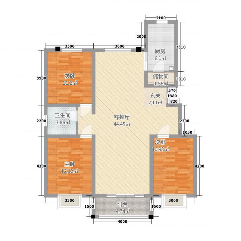 华祺公馆32125.20㎡B户型3室2厅1卫1厨