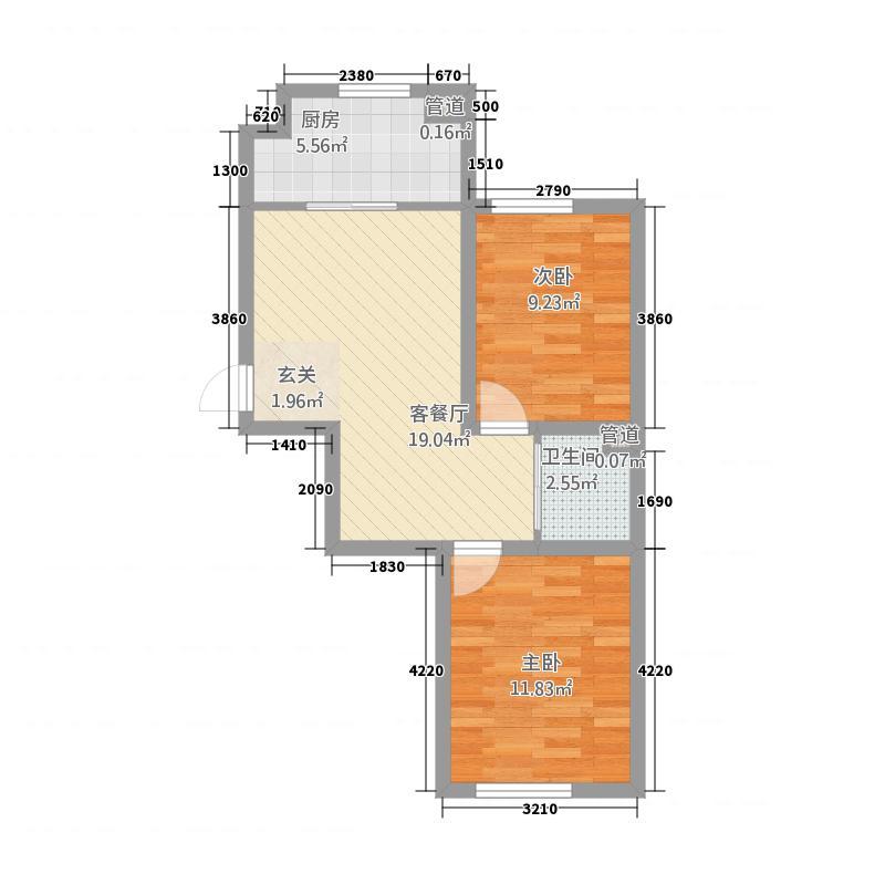 华大城1673.32㎡二期C1#C6#楼D3户型2室2厅1卫1厨