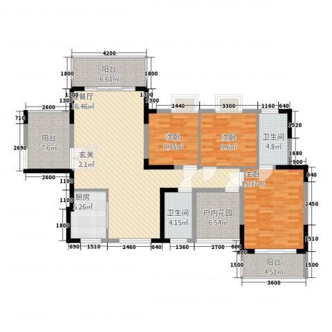 梓山湖领御3室1厅2卫1厨134.00㎡户型图