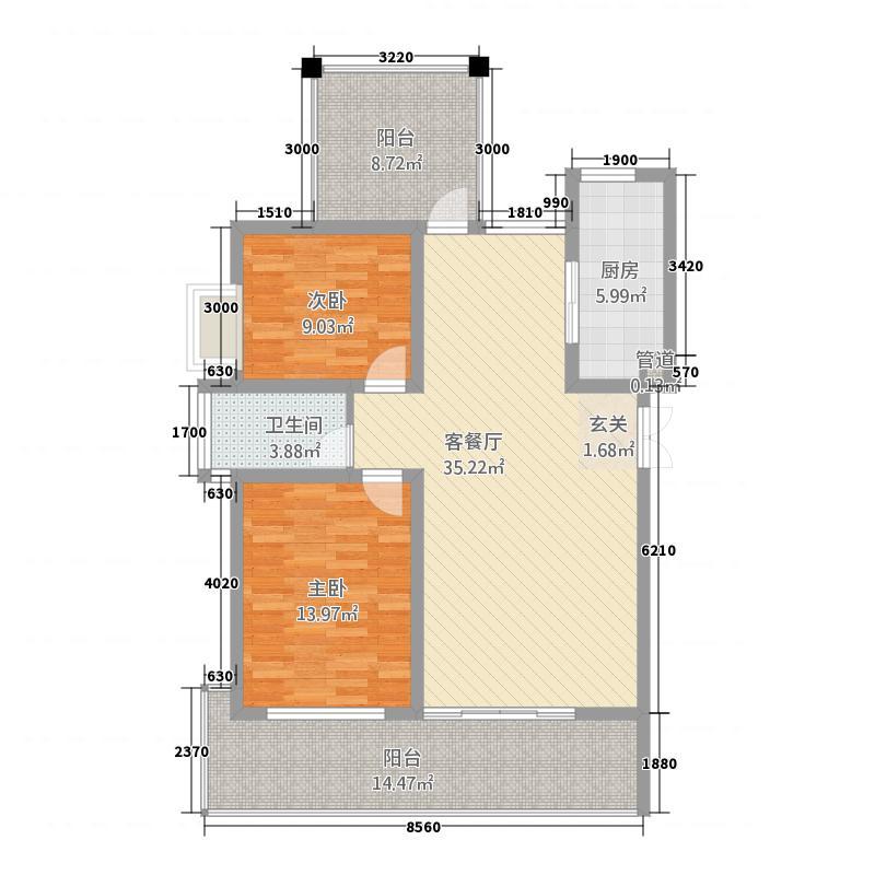 宝恒水木清华15.20㎡小高层标准层户型2室2厅2卫1厨