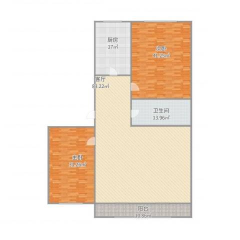 双兴南区2室1厅1卫1厨258.00㎡户型图