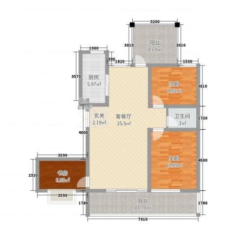 宝恒水木清华3室1厅1卫1厨115.00㎡户型图
