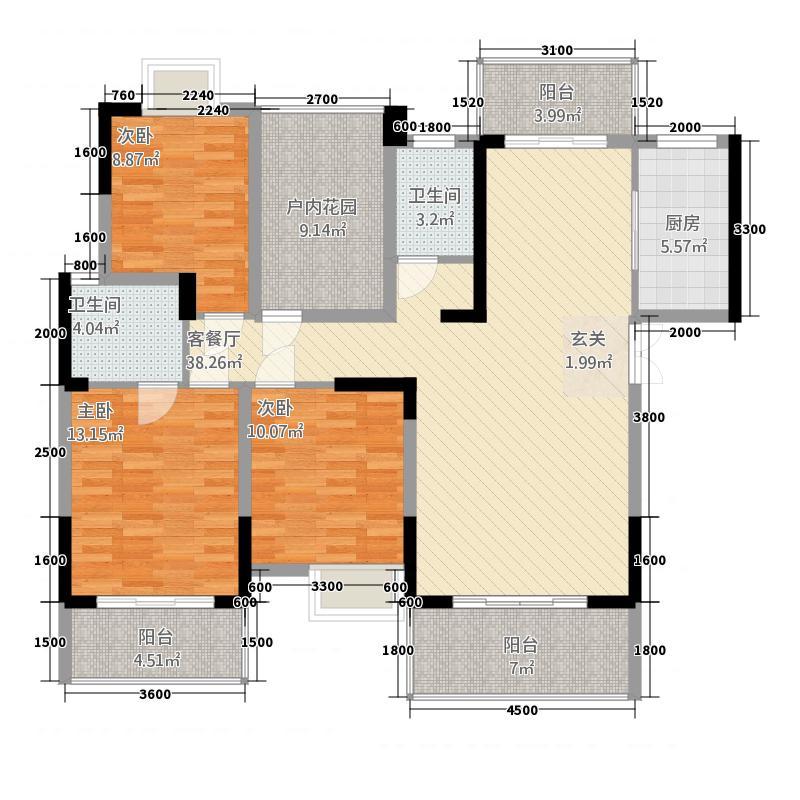 梓山湖领御12.37㎡8#H户型3室2厅2卫1厨