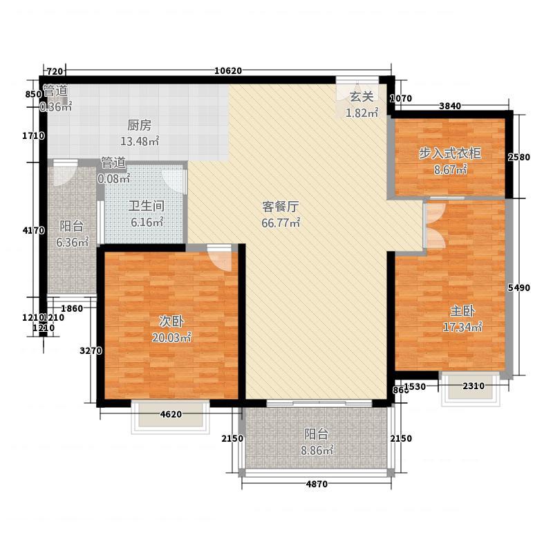 扬州国际公馆186.20㎡二期A1户型2室2厅1卫1厨