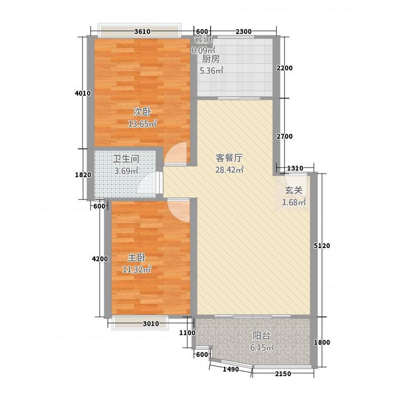 外滩新城2A户型2室2厅1卫