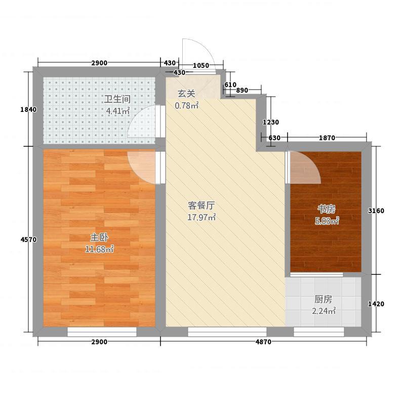 哈西华府26152.24㎡26号楼1单元1室户型1室2厅1卫1厨