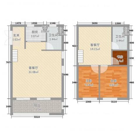 新梅御香山3室2厅2卫1厨97.00㎡户型图
