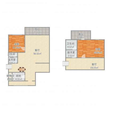 龙兴园南区2室4厅2卫1厨187.00㎡户型图