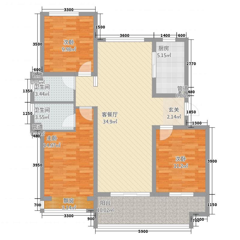 主语城3213.20㎡9#户型3室2厅2卫1厨