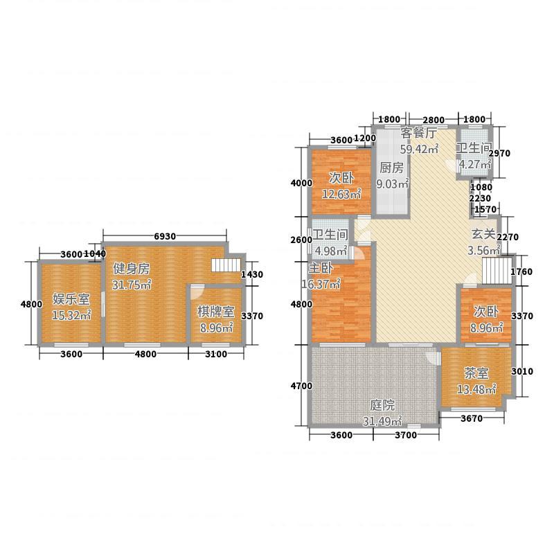 三发尚河名郡15226.20㎡一期15-21#楼标准层G户型4室2厅2卫1厨