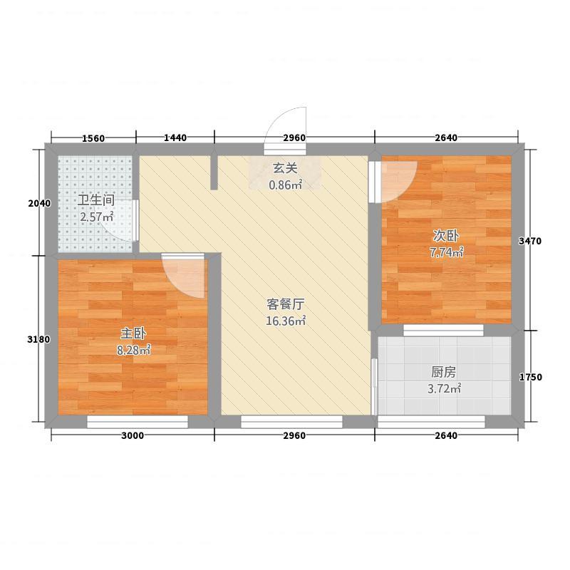 哈西华府21326.32㎡21-32号楼户型2室2厅1卫1厨