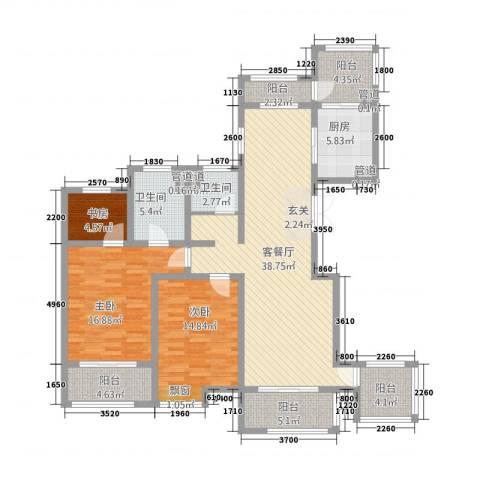新梅御香山3室1厅2卫1厨163.00㎡户型图