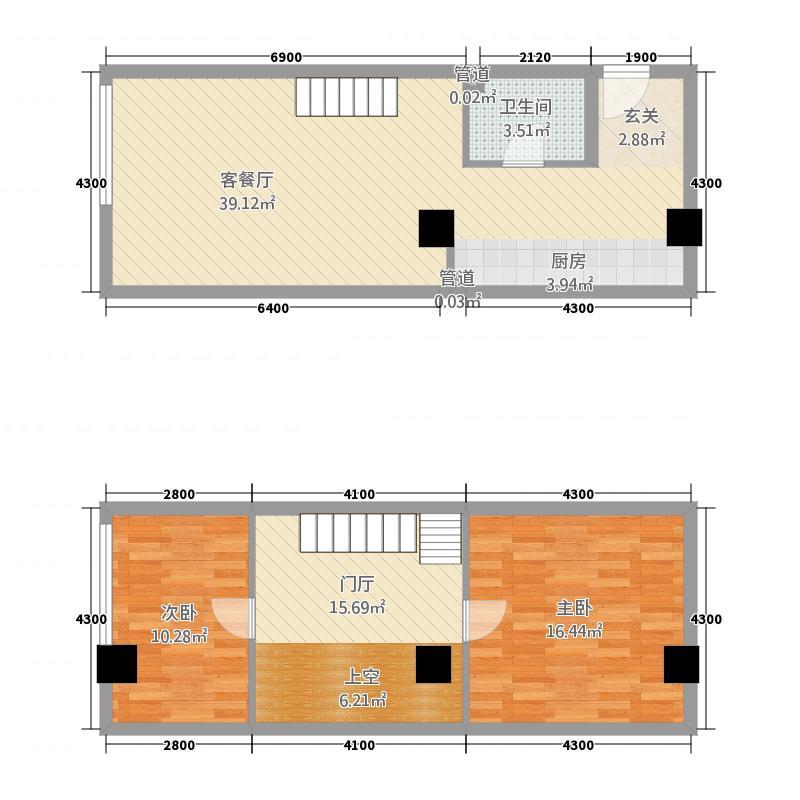 书林和园86.00㎡D6户型2室2厅1卫1厨